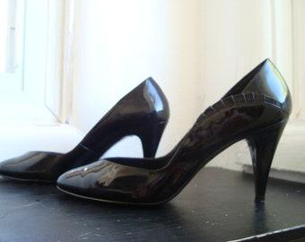 Black Patent Leather Heels, Sexy 1980's Nine West Stilettos, Size 6 1/2