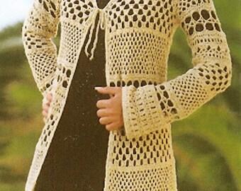 Elegant Multi-Stitch Crocheted Long Cardigan - Made to Order