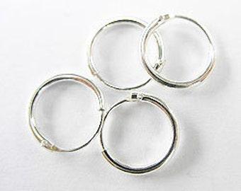 4 pairs of 925 Sterling Silver Little Hoop Earrings 10mm. :er0227