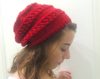 hand knitted RED SLOUCHY BEANIE,women,teenage,fall winter