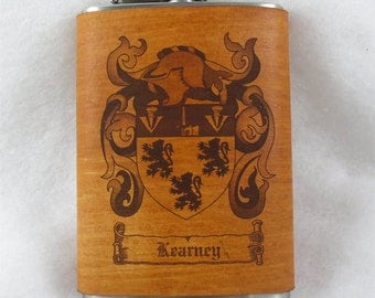 Flask with Family Crest Engraved in Leather - 8 ounce - FREE Monogramming