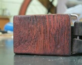Course Grain- Reclaimed Mahogany Wood Belt Buckle