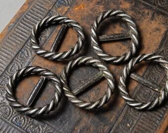 Set of 10 Vintage metal belt buckles.