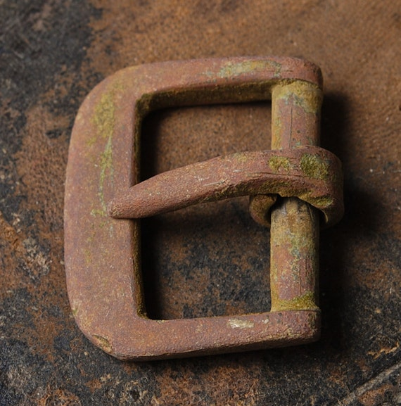 Antique small primitive brass belt buckle, finding