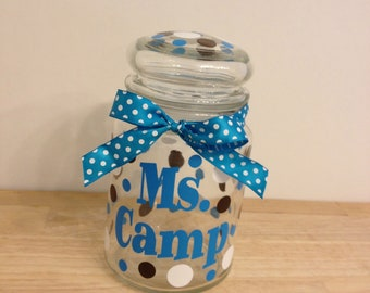 Personalized candy jar - name or monogram, polka dots or flowers - Great teacher or Mother's Day gift, choose your colors