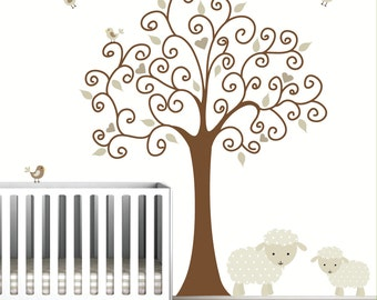 Tree Wall Decal-with Lamb Sheep-Baby Nursery-e103