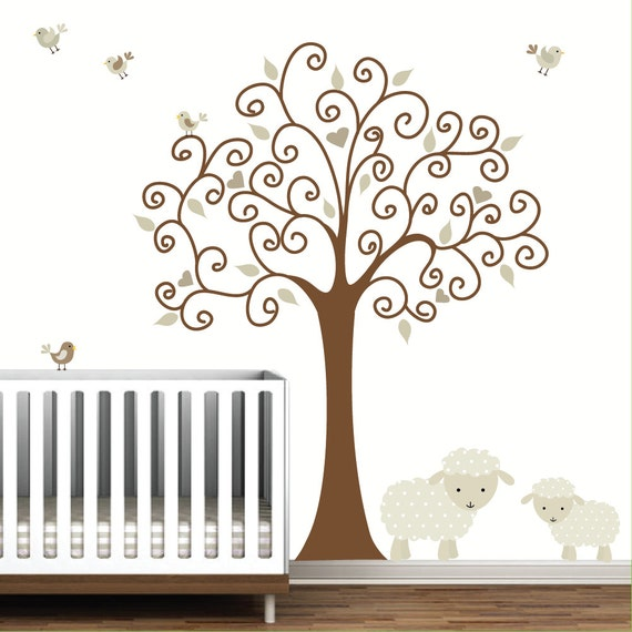 Tree Wall Decal With Lamb Sheep Baby Nursery E103