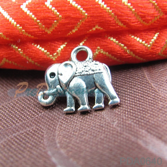 50 pcs Antique Silver Tiny Elephant Charms 13X12mm Small Pendant Jewelry Accessories Necklace, Bracelet, Angklet, Waist Chain, Pendant etc.