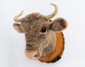 Needle felted miniature bull head