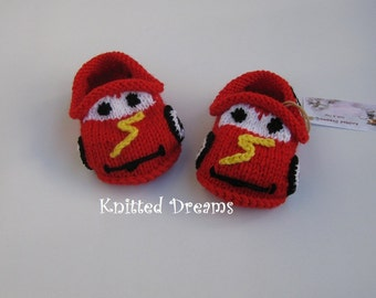 "Knitted woolen very warm slippers Mcqueen from ""Cars"" movie."