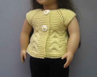 American Girl/Gotz Doll  Cabled Top and White Lace Hat  with Yellow Daisy Flower .