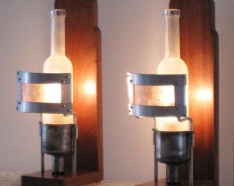 Vinegar Bottle and Carburetor Desk/Wall Sconces