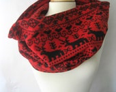 Winter Print Snood Scarf - Stags and Norwegian Snowflakes in Black and Red