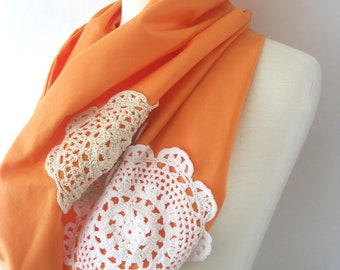 Orange Creamsicle Infinity Scarf - Light Orange Peach with White Lace Doilies -  Anthropologie Inspired Snood : Boho Hippie Chic
