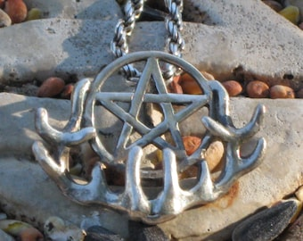 Wiccan Pentagram on Deer Antler Pendant.Unique Pentagrams.Celtic Pentagram Charm.