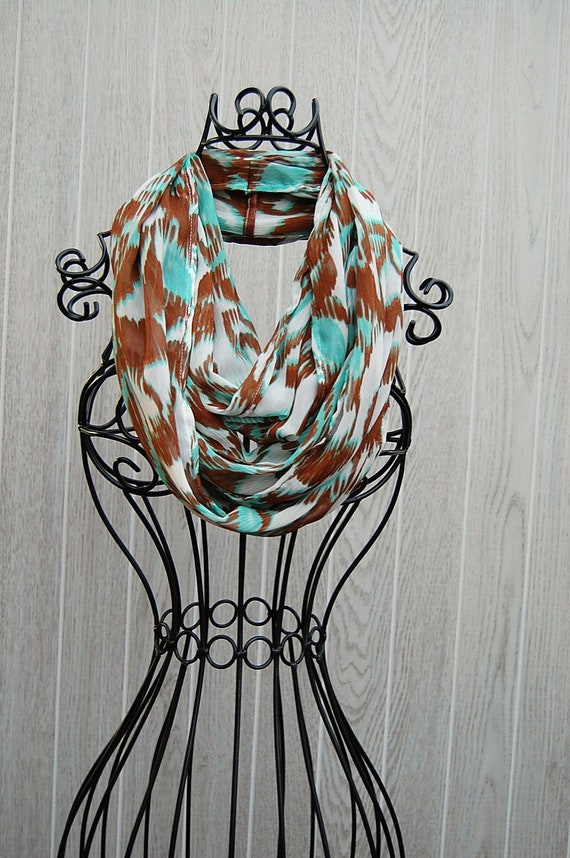 Mint Turquoise and Burnt Sienna Abstract Print Sheer Crinkle Chiffon INFINITY SCARF-Eternity Scarf-Statement Wear by The Accessories Nook