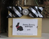 Classic Yellow Distressed Wood Frame with Black/White Checked Bow