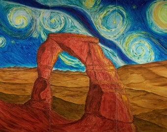 """6 3/4 x 10 Fine Art Giclee print of """"Delicate Arch Under Milky Way"""""""