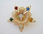Vintage 60s Traditional Historical Gold Tone Prong Set Blue Green Red Clear Orange Rhinestone Five Pointed Eastern Star Masonic Brooch Pin
