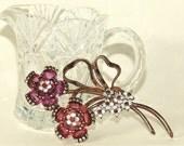 Vintage Sterling Pennino Rhinestone Pin and Earring Set