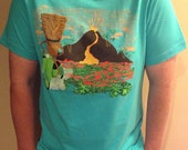 Scooter, Tiki, Volcano on Canvas brand Unisex Teal T-shirt Size M