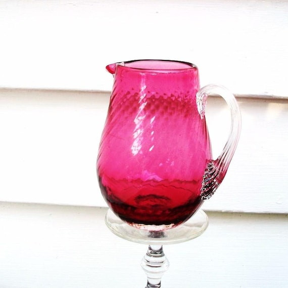 Cranberry Glass, Mini Pitcher, Vintage Cranberry, Cream Pitcher, Hand Blown Glass