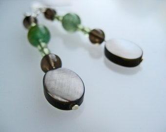Green aventurine mother of pearl peridot smoky quartz sterling silver earrings