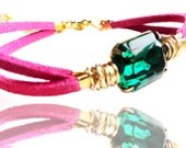 Christmas Gift - Holiday Pick - Swarovski Emerald Green Octagon Crystal Fuchsia Suede Gold Plated Bracelet (Get 12% OFF)