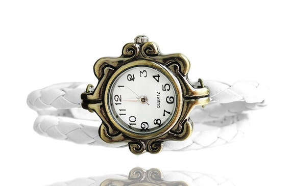 New Antique Bronze Quartz Watch White Leather Wrapped Bracelet (Get 12% OFF with COUPON CODE )