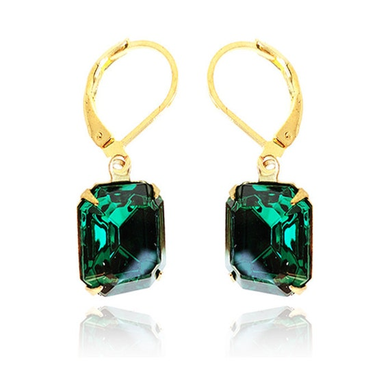 Get 15% OFF - Swarovski Emerald Green Octagon Crystal Gold Plated Leverback Earrings - Mother's Day SALE