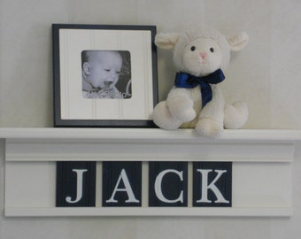 Personalized Children Nursery Decor 24 inch Linen (Off White) Shelf with 4 Wooden Letter Plaques Navy Blue - JACK