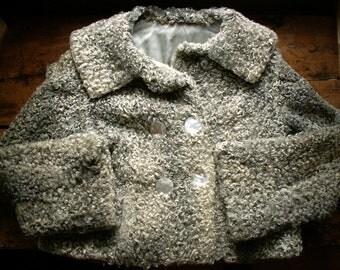 Vintage Gray Curly Lamb Cropped Fur Coat - Women's Small/Medium