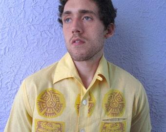 1960s Vintage Mayan Sun Cabana Shirt - Lg