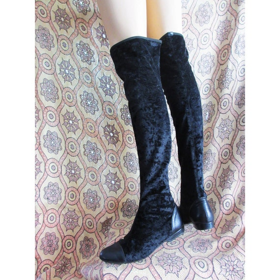 Reserved for Julia Vintage Mod Donald J. Pliner Thigh Hi Velvet Boots Leather 9 M