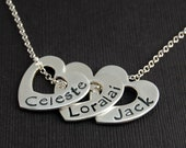 Name Necklace - Personalized -  Close to My Heart Three Heart Necklace