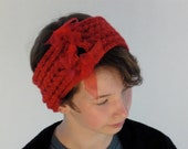 Red Cabled Turband with Voile Ribbon