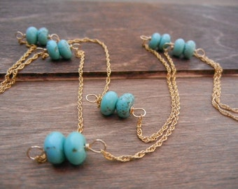 Turquoise Gold Necklace, 14k Gold Filled Chain, Long Turquoise Necklace, Long Gold Necklace, Layering Turquoise Necklace