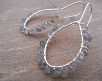 Labradorite Earrings, Sterling Silver Hoop Earrings, Simple Labradorite Silver Earrings, Gray Hoops
