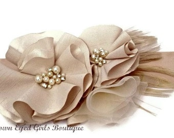 Champagne Wedding Sash, Bridal Sash, Wedding Belt, Bridal Belt -Champagne Flowers