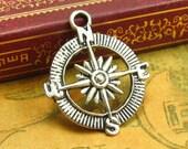 10 pcs Compass Charms Antique Silver Compass Pendants CH1152