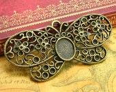 6 pcs Butterfly Cameo Base Settings Brass Cameo Settings Pendant Trays 12x10mm CH1190