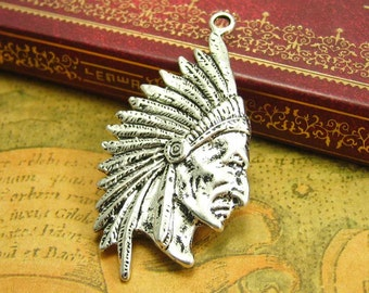 5 pcs Antique Silver Indian Chief Charms 55x30mm CH1171