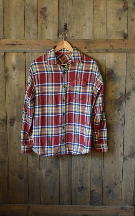 classic red blue plaid flannel shirt m by