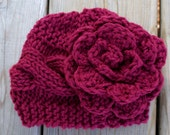 Sale:  Crocheted and Knitted Horizontal Cable Knit Baby Hat with Flower, Baby Hat, Knitted Hat , Baby, Winter Hat