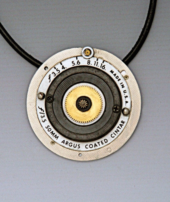 Photo Jewellery Pendant made with Vintage Film Camera Parts Recycled OOAK Handmade Original for Photographers and all Photo Fans