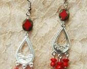Silver & Bright Red Dangle Earrings