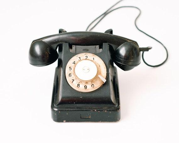 items similar to industrial home decor vintage desk phone black rotary antique telephone. Black Bedroom Furniture Sets. Home Design Ideas