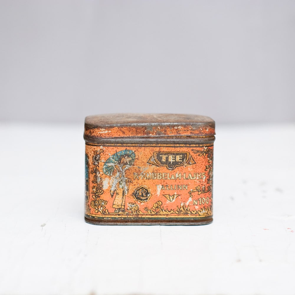 vintage tin container russian old tin box antique metal