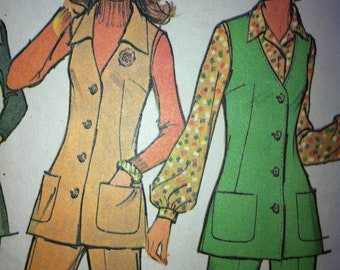 Vtg 70s Pattern Sewing McCalls No. 3313 Size 12  Vest and Pants 1972 Vintage Look Knits Wool Cotton
