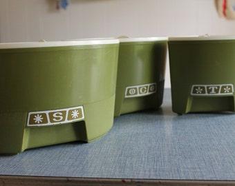 Vintage Avocado Green Circle 3 Piece Set Coffee, Tea & Sugar Containers   Retro
